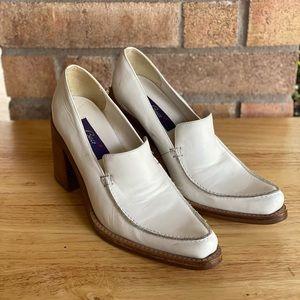 Vintage Baci White Leather Chunky Heel Loafers